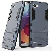 Ougger Fundas para LG Q6 / M700N / M700A Carcasa Cover, Protector Absorción de Impacto [Soporte de vídeo] Armor Cover Duro Plástico + Suave TPU Rubber 2in1 Gear Rear Negro