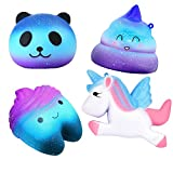 Hirsrian Squeeze Toys, 4 pcs Galaxy squishies Jumbo Slow Rising Toy Stress Reliever For Kids and Adults(Unicorn, Panda, Poop, Teeth)