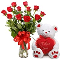 Floral Fantasy Fresh Flower Bouquet (Bunch Of 12 Red Roses in Glass Vase with a Teddy)