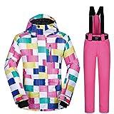 Yajiemei Atmungsaktive Wasserdichte Snowboardjacke für Damen, Set für den Winter (Color : 03, Size : S)