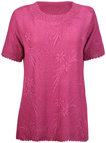 Purple Hanger Femmes Grande Taille Imprimé Floral Femme Extensible Manche Courte Bord Feston Tunique t-Shirt Haut Robe Prune