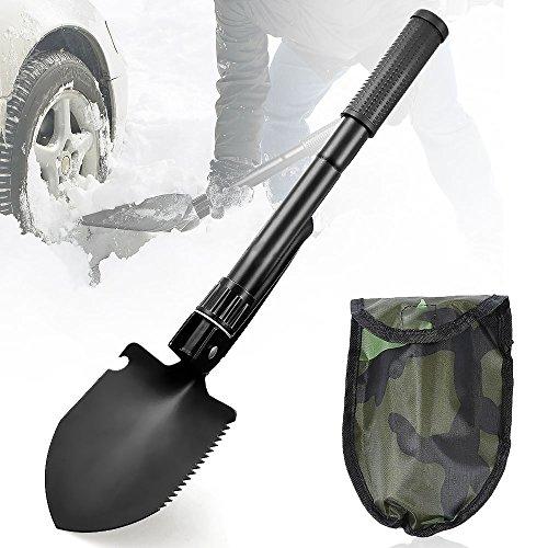 Aodoor Mini Multifonction Militaire pelle pliante, Boussole Extérieure pour Camping Randonnée Survie Outil Jardin pelle, Noir ( avec Étui)