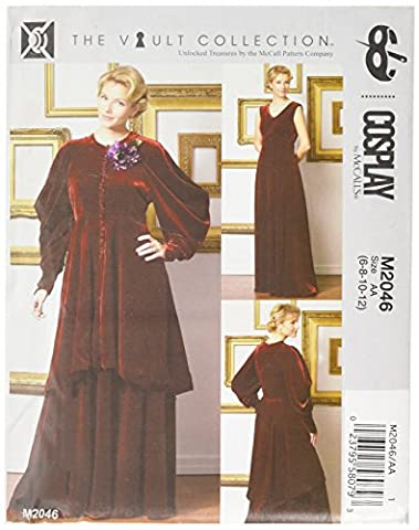 Cosplay par McCall's Cosplay M2046 AA, Empire-waist Robe et Puff-sleeve Manteau, tailles 6–12, Multi/couleur