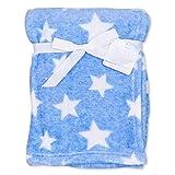 Soft Touch Baby Decke Jungen blau weiß   Motiv: Sterne   Babydecke mit Sternenmotiv für Neugeborene & Kleinkinder