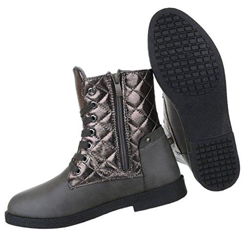 Damen Stiefeletten Schuhe Kurzschaft Worker Boots Schwarz Grau 36 37 38 39 40 41 Grau