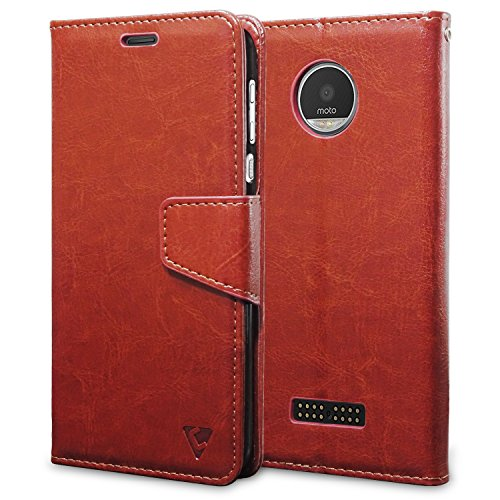 Ceego Luxuria Wallet Flip Cover for Moto Z Play (Walnut Brown)