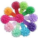 Atdoshop(TM) 10 Pièces Babys Bandeaux Filles bandeau en mousseline de soie Fleur Noeud dans les cheveux