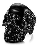 Sailimue Acier Inoxydable Bague pour Homme Femme Tête de Mort Noire Bague Gothique, Taille 57(18.1)