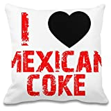 Harma Art Ich Liebe mexikanische Cola - I Love Mexican Coke Decorative Pillow Case 100% Soft Polyester Cushion Cover Decorative Bedding Accessories