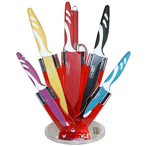 Set de 7 pièces de couteaux Design Haut De Gamme avec bloc, Couteau de cuisine, Couteau à pain, couteau à viande, Couteau économe universel, Ciseaux