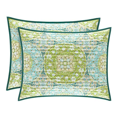 Five Queens Court AVA Bohemian Quilted Pillow Sham, Green, Standard/Queen 20x26