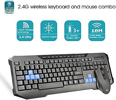 Rii RK200 teclado completo inalámbrico 2.4GHz Con ratón incluido y receptor GAMERS.(Rk200)