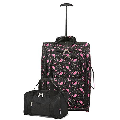 Set di 2 - Trolley Ryanair da Cabina 55x40x20 cm + Borsa/Sacca da viaggio 35x20x20 ideale come secondo bagaglio a mano. Porta a bordo entrambe! (Anguria Nero)