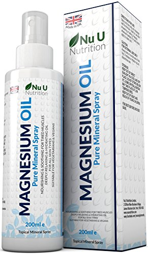 Magnesium Oil Spray 200ml Pure Mineral Spray from Magnesium Chloride providing 800 sprays - TWICE THE SIZE OF COMPETING BRANDS – Light & Hydrating Magnesium Spray for all Skin Types – by Nu U Nutrition.