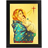 Gold Plated Photo Frame Of Mother Mary Holding Child Jesus / Bible Verse Psalm 98 Joy To The World. / Cross / Baby Jesus / Infant Jesus / The Holy Child / Jesus And Mother Mary / Lord Jesus Christ / Christians / Christianity / Master / Son Of God / Bible