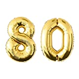 NUOLUX Numero palloncini,52 pollici numero 80 palloncino d'oro per la festa di compleanno
