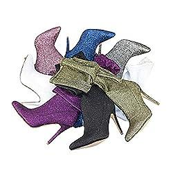 Damenstiefel Pfennigabsatz Spitze Zehen Synthetik Schenkelhohe Stiefel Fashion Boots/Slouch Boots Herbst & Winter Blau/Wein/Champagner/Party & Evening @ Silver_US5/EU35/UK3/CN34