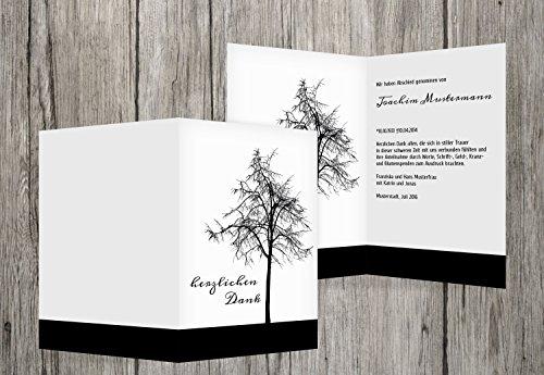 trauerkarten-druck Danksagung Trauer | Danksagung Trauer Tree | 60 Karten | mit Individualisierung & Umschlägen | in Schwarz