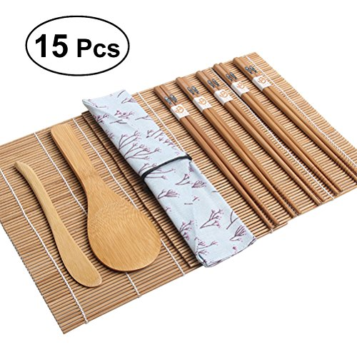 OUNONA Kit de fabrication de sushi en bambou 15pcs, 2...