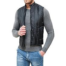 Giubbotto smanicato uomo nero slim fit aderente giacca gilet casual