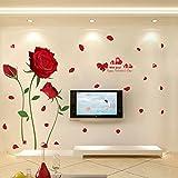 YUANLINGWEI Blume Wandaufkleber Wohnzimmer Tv Hintergrund Wand Tapeten Selbstklebenden Schlafzimmer Wall Sticker (60 * 90 Cm) Rote Rose 60 X 90 Cm.