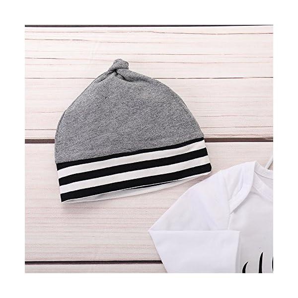 Trisee Ropa para bebés Monos de Mameluco + Raya Pantalones + Sombreros 3 Piezas Otoño Invierno Trajes Casual Algodón… 5