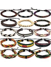 REKYO 16 Stück ethnische Tribal Bead Lederarmband, Freundschaft Hand geflochten böhmischen Holzperle Hanf Seil Armbänder Armbänder für Männer und Frauen (Unisex)
