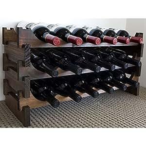 Vinrack Wooden Wine Rack 18 Bottle - Dark Stain