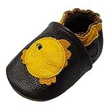 Yalion Baby Weiche Leder Lauflernschuhe Krabbelschuhe Hausschuhe Lederpuschen Bubble Fish (24-36 Monate, Dunkelbraun)