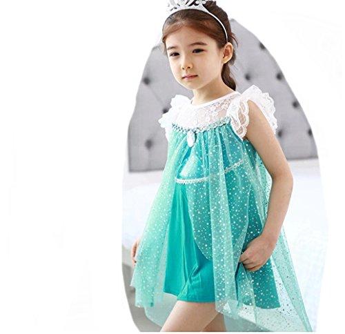 D'amelie Eiskönigin Prinzessin Kinder Kleid Mädchen Kostüm Weihnachten Verkleidung Karneval Rollenspiele Party Halloween (Ariel Kostüme Halloween)