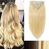 Extensions a Clip Cheveux Naturel Cheveux Humain 8 Bandes 100% Human Remy Hair #24 Blond clair, 55cm-110g