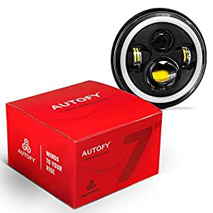 Autofy 7 Inch 4 LED Headlight with Dual DRL Color for Royal Enfield (White and Black)