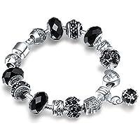 A TE® Bracciale Charms da donna e ragazza Crstalli Beads neri Regalo Festa SKU:JW-B14