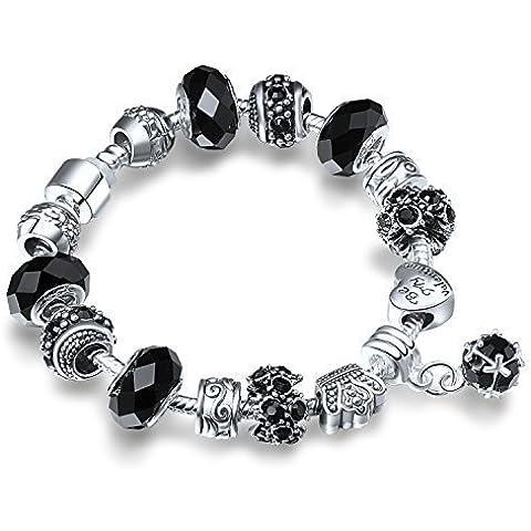 A TE® Charm Pulsera Cristal Negro Mujer Plata Enchapado Oro blanco Folres con Letras lasér Regalo Amor Valentín #JW-B14