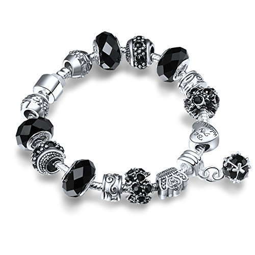 A TE® Charm Bracelet Crown Bead and Black Crystal Glass Beads for Women #JW-B14