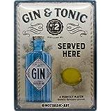 Nostalgic-Art Open Bar - Gin & Tonic Served Here - Idea de regalo para fans de cóctel, cartel de chapa retro, metal, decoraci
