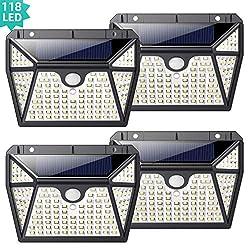 Solarleuchte für Außen,[Superhelle 5 Seiten Beleuchtung - 4 Stück] kilponen 118 LED Solarlampen Außen mit Bewegungsmelder Sicherheitswandleuchte2200mAh Wasserdichte 3 Modi Solarleuchten Garten