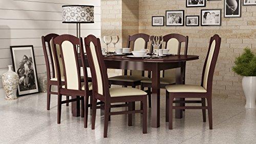 Best For Home Esstisch + Stuhlset : 1 x Esstisch 160 x 90/200 Nussbaum Dunkel + 6 x Esszimmerstühle Set Nummer 3 Made in Eu -