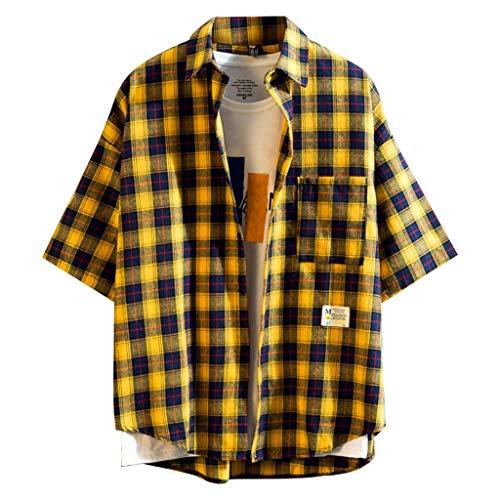 Luckycat Kurzarmhemd Herren Sommerhemd Baumwolle Freizeithemd atmungsaktiv Kariertes Hemd bequemes Oberteil Kurzarm-Shirt Hemd Karriert Slim fit Herren Karohemd holzfäller Hemden männer Checked Shirt (Ralph Lauren Polo-t-shirts Lila)