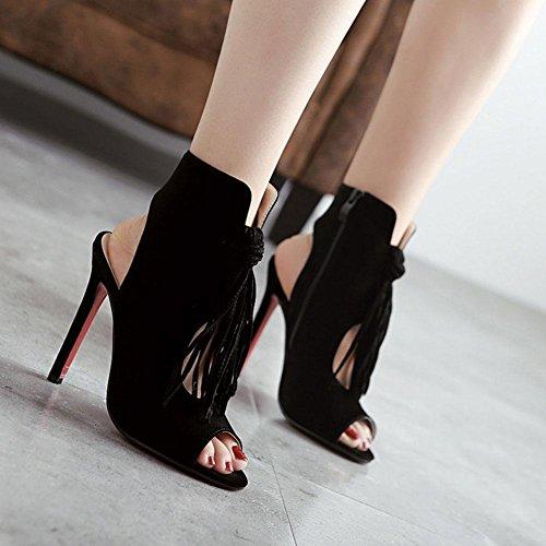 WYWQ Womens Ladies Tassel Fish Mouth Sandals Nuovo modello Tacco alto Filo vuoto Chiusura lampo Tacco fine Estate Stivale singolo Strap anteriore Nero Marrone black