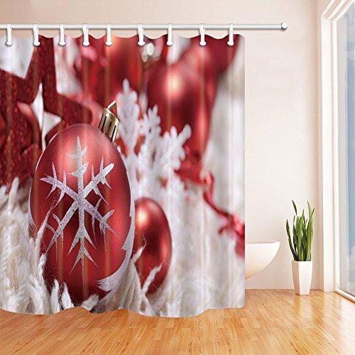 nyngei Weihnachten Vorhänge Dusche für Badezimmer Schneeflocke Druck Polyester-Kugeln rot Weihnachten-Wasserdicht Bad Vorhang Vorhang für die Dusche Haken im Lieferumfang enthalten 180x 180cm - Rod Runde Druck-vorhang