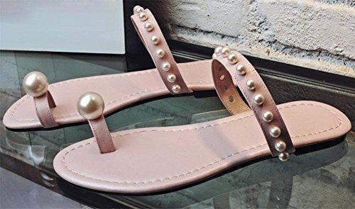 pince diamant perle orteil pantoufles plates sandales de plage chaussures couleur nude Pink