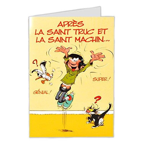 Gaston Lagaffe glct0027Bonne fête Saint Heilige Vorname mit Umschlag illustriert passender