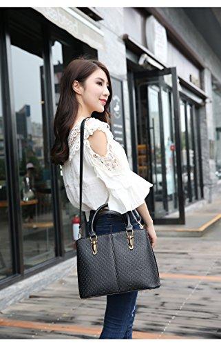 1 x Damen Tote – Multifunktionale PU Handtasche / Large Size Umhängetasche mit einem langen abnehmbaren Gürtel - Schwarz Schwarz