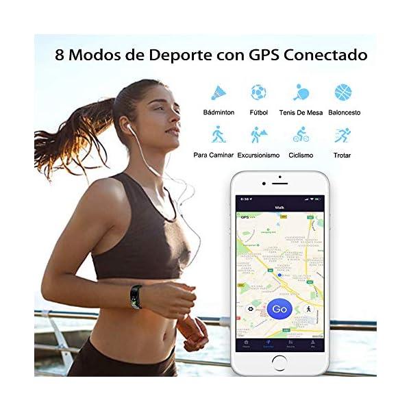Pulsera de Actividad Inteligente Impermeable IP67 con 8 Modos de Deporte,Pulsera Inteligente con Pulsómetro, Blood Pressure, Sueño,Podómetro,Pulsera Deporte para Android y iOS Teléfono móvil 3