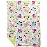 Mee Mee Soft Baby Blanket (Double Layered, Dark Pink - Owl Print)