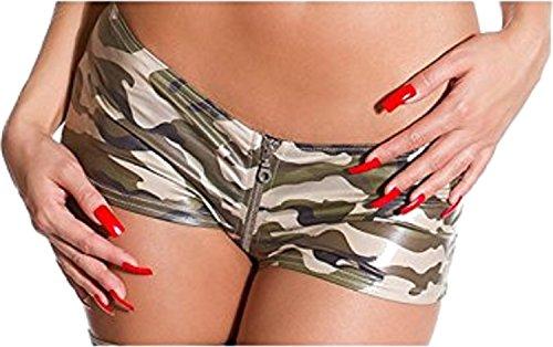 GoGo Hotpants Reißverschluss Leder-Optik Wet Look Panty Heiß Army 34-38