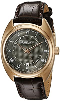 Stuhrling Original Men's Quartz Watch with Grey Dial Analogue Display and Brown Leather Strap 728.04