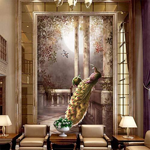 Orientalische Holz-bildschirm (Tapete Schönen Respekt Peachen Luxus Eingang Bildschirm Hintergrund Wand 3D Wallpaper Papel De Parede (W)300X(H)210Cm)