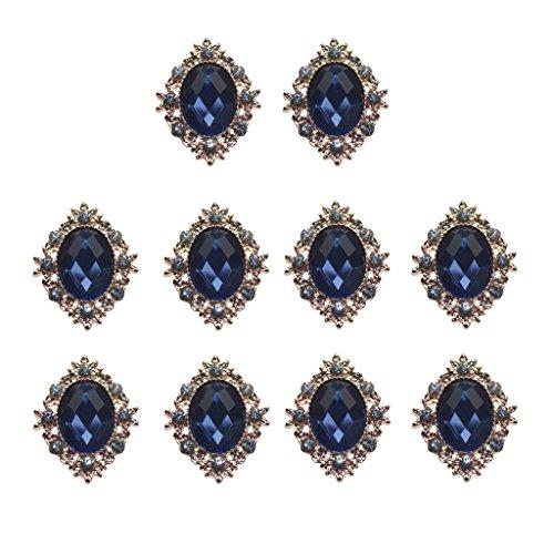 10 Strass Cabochons Flache Rückseite Flatback DIY Verzierungen Hochzeit Telefon Dekor - Marine-Blau